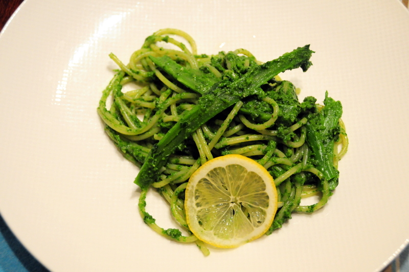 spaghetti with broccoli rabe pesto
