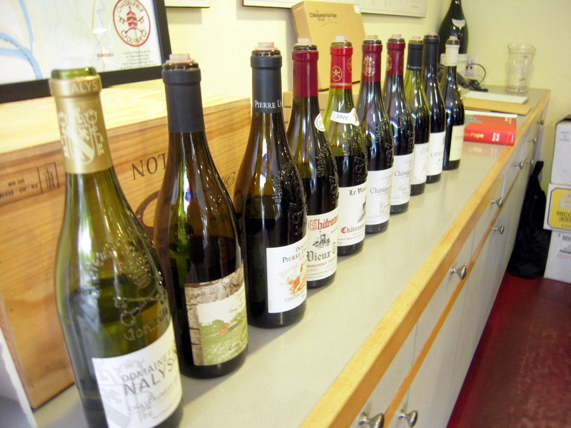 the bottle line-up from our recent Rhône wine tasting experince at K & L