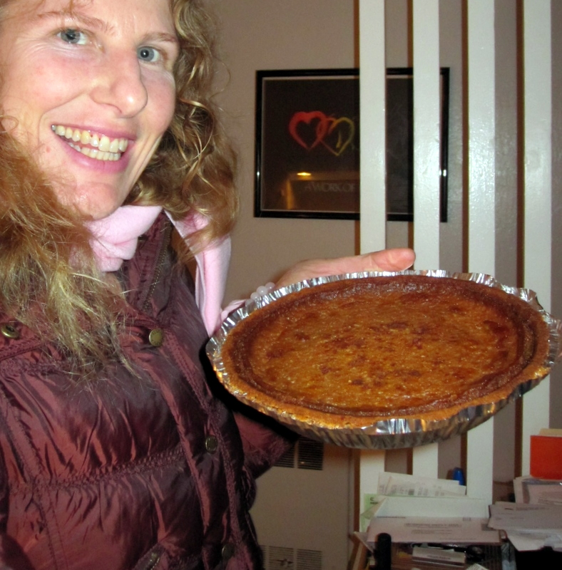 the pumpkin pie obsessive admiring her latest creation