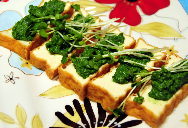 tofu cutlet with broccoli rabe pesto and daikon sprouts