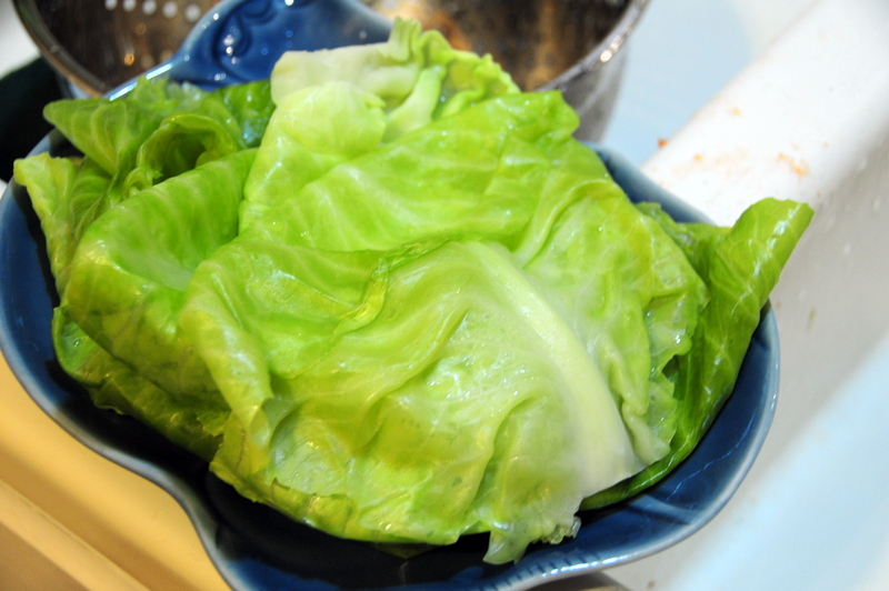 beautiful steamed cabbage leaves ready for stuffing