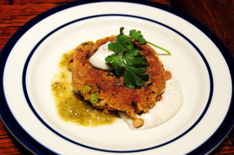 black-eyed pea croquettes with tomatillo salsa and spicy tofu cream sauce