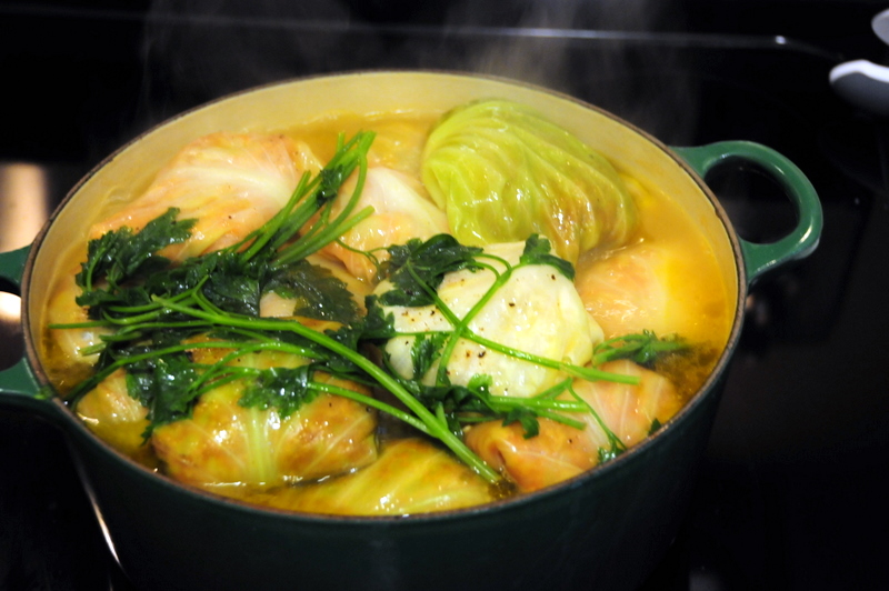 boiling the veggie broth after stuffed cabbage have all been added