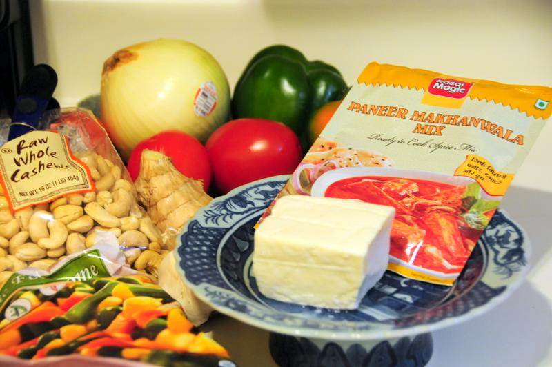 ingredients for my doctored Paneer Makhanwala