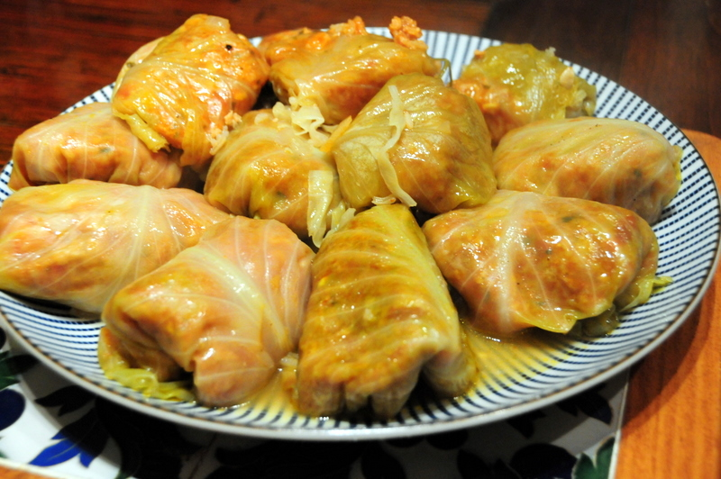 wonderful platter of vegan stuffed cabbage