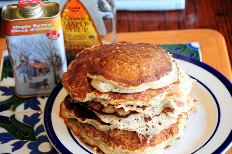 Cooking the Books-style vanilla oatmeal buttermilk pancakes