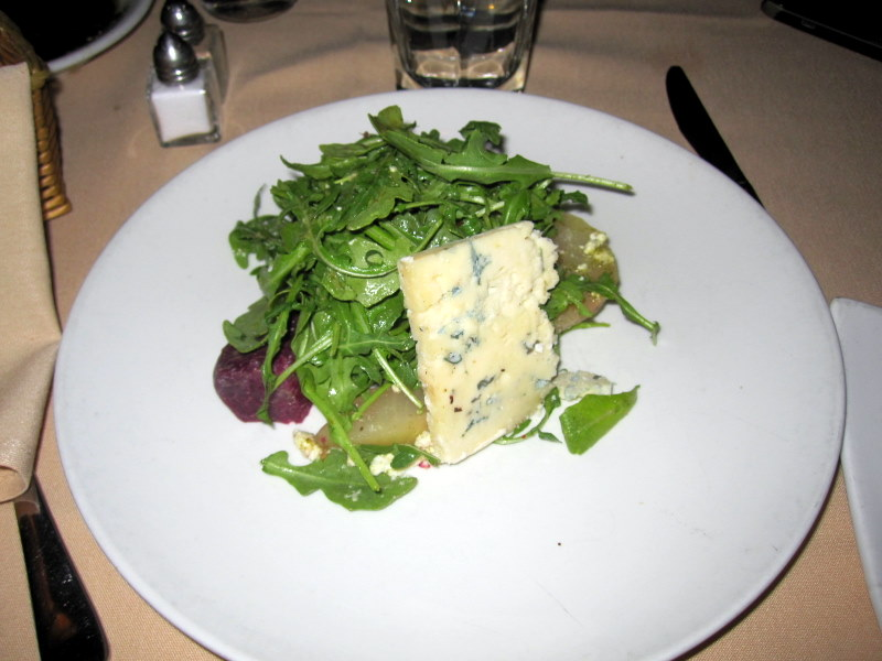 Saha wild arugula and blue cheese salad