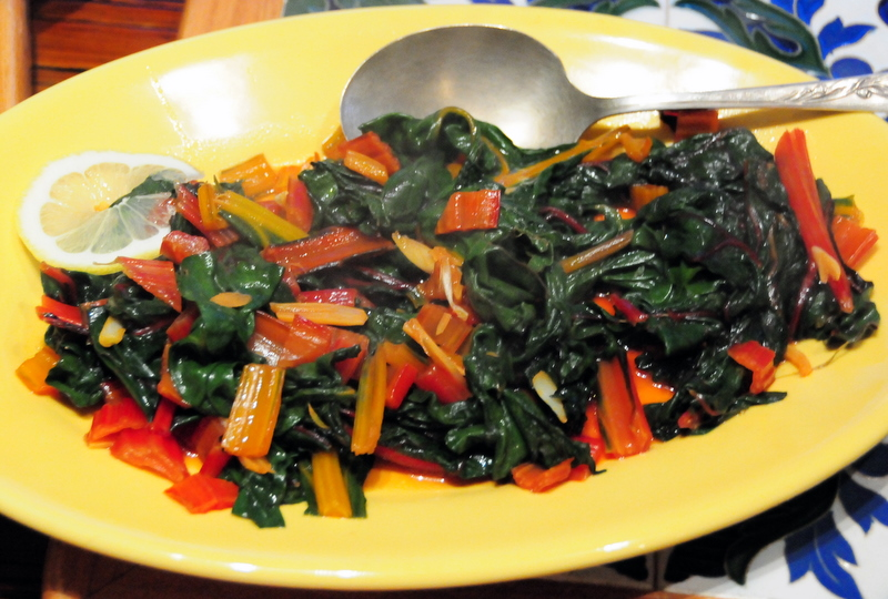 sautéed rainbow Swiss chard with garlic and lemon