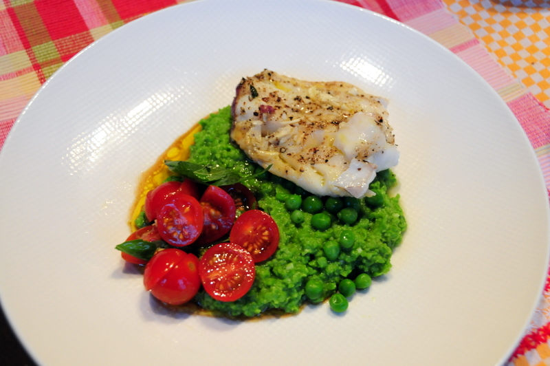 steamed wild pacific cod with green pea purée and cherry tomato salad