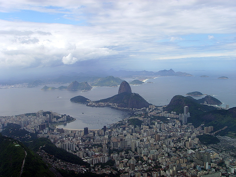 view of Sugar Loaf from Corcovado in Rio de Janeiro