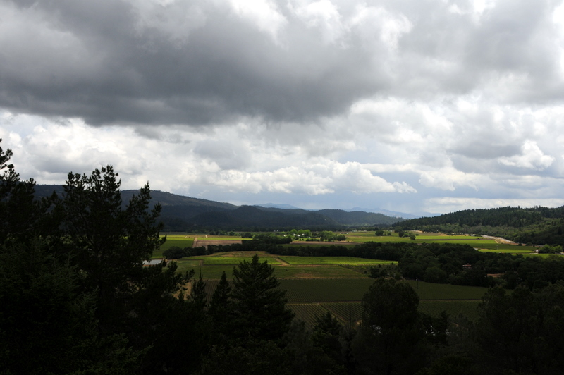 Napa Valley under a moody sky from the terrace at Sterling