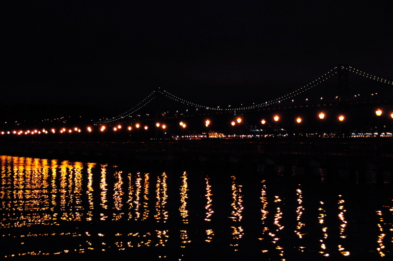 The Bay Bridge at nightfall
