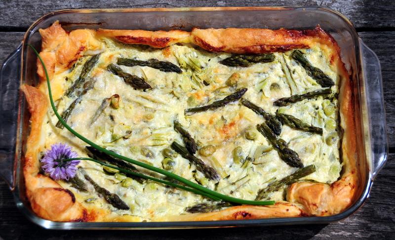 asparagus, fava and edamame tart