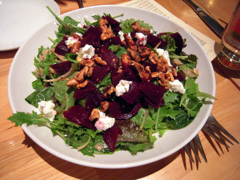 beet salad with spring greens, walnuts and cheese