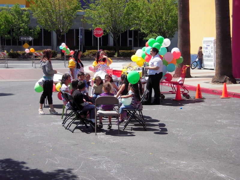 child's party in front of Mi Pueblo