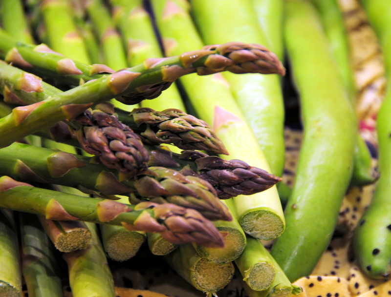 fresh asparagus and fava beans