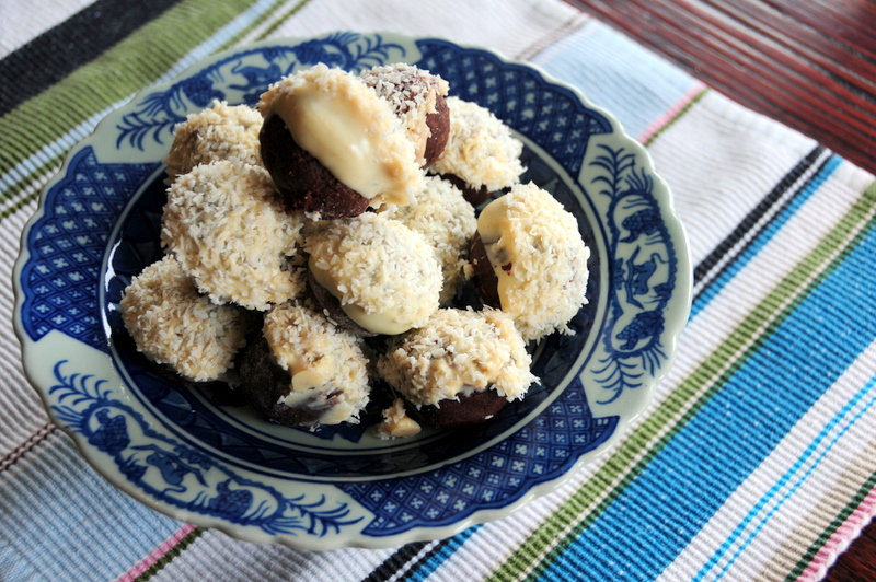 incredible black and white chocolate truffles with guava and coconut