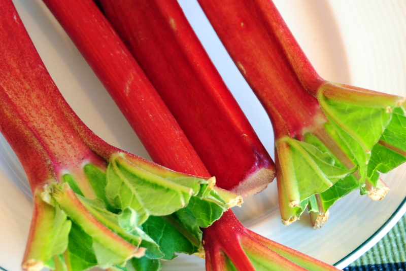 remove the green leafy part from the rhubarb before use