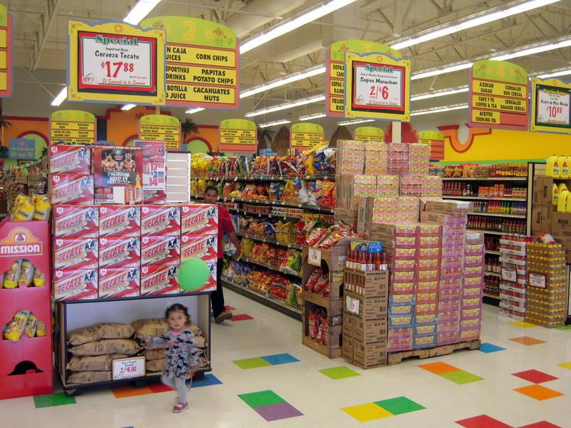 rows and rows of Mi Pueblo dry goods