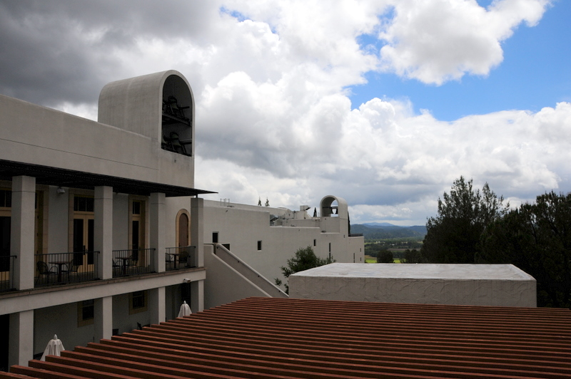 the Sterling winery with modern looking bell towers