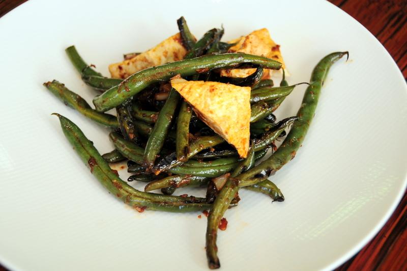 Szechuan string beans with tofu in black bean sauce
