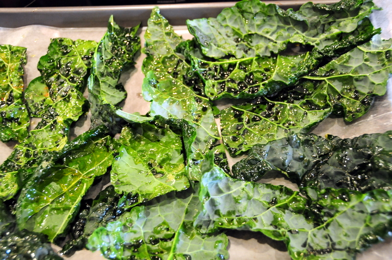 fresh kale slathered in olive oil and ready for the oven