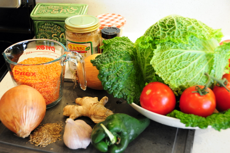 key ingredients for Indian red lentil soup with Savoy cabbage