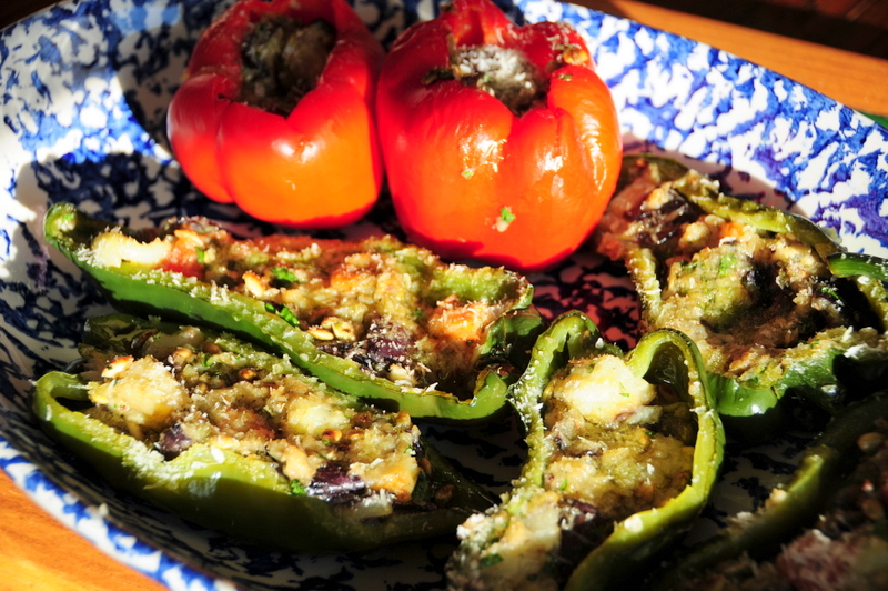 poblano peppers stuffed with Italian eggplant, anchovy and pepitas