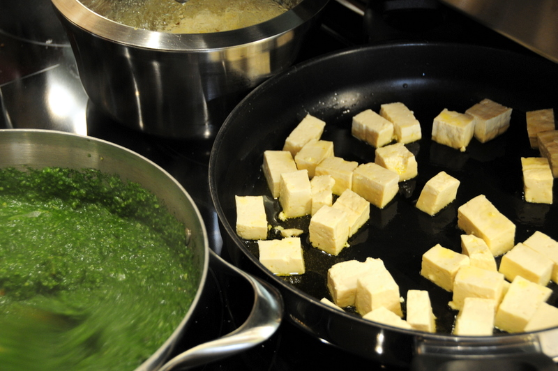 sauteing tofu and preparing palak sauce