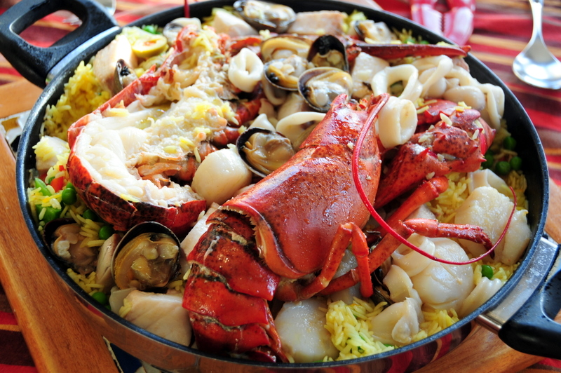 seafood paella with Maine lobster