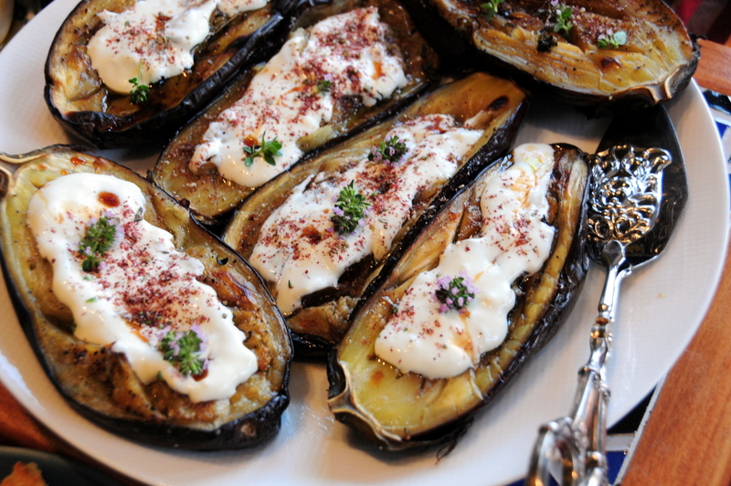 Yotam Ottolenghi-style roasted eggplant with labneh, za'atar and pomegranate molasses