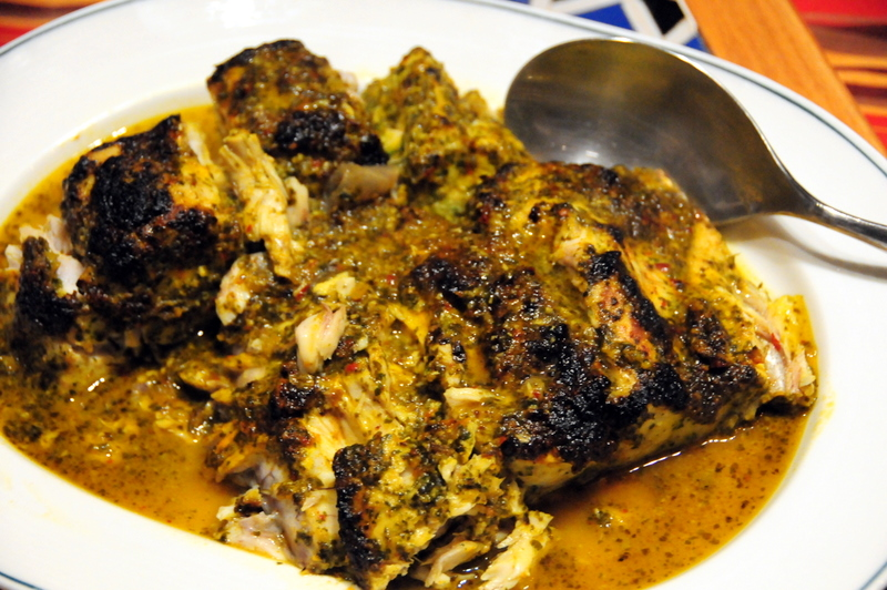 broiled corvina in charmoula marinade