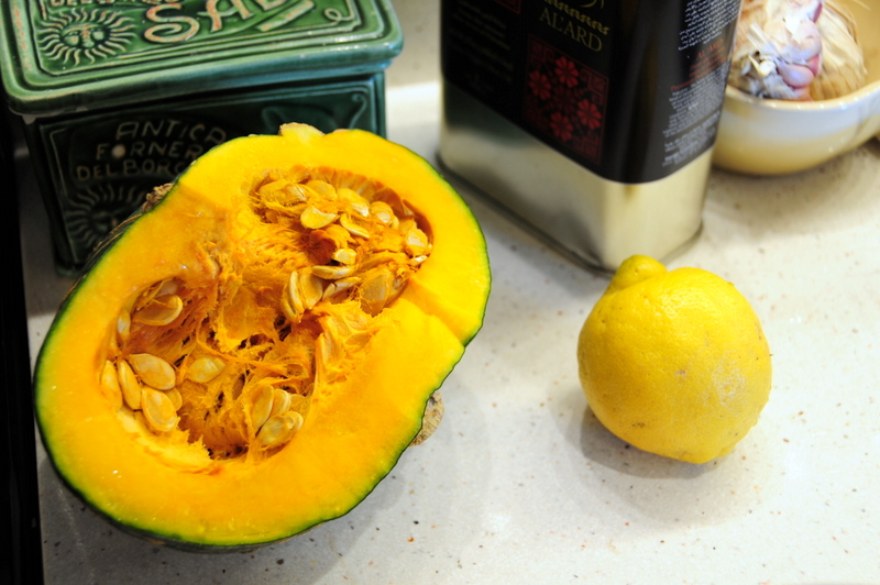 vibrant orange interior of kabocha pumpkin