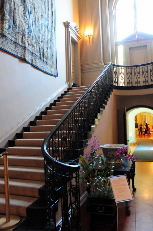 Filoli grand stairway  Can't you just imagine Crystal Carrington coming down those stairs in a white evening gown with huge shoulder pads