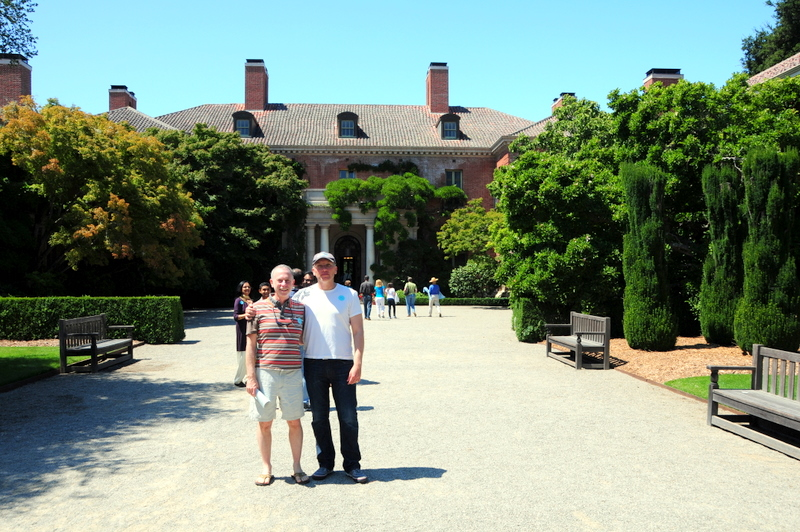 John and I standing a the entrance to the Filoli mansion