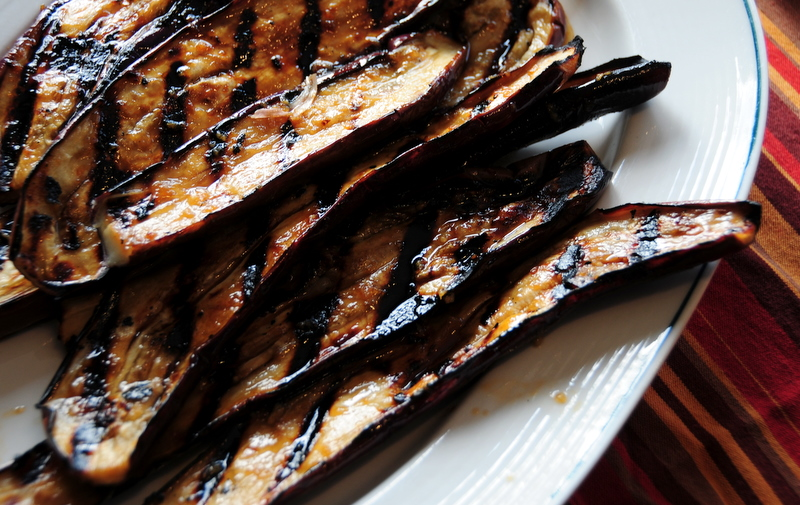 grilled Chinese eggplant in teriyaki sauce