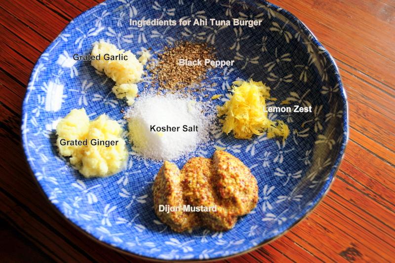 key ingredients for Martha's pan-seared tuna burgers