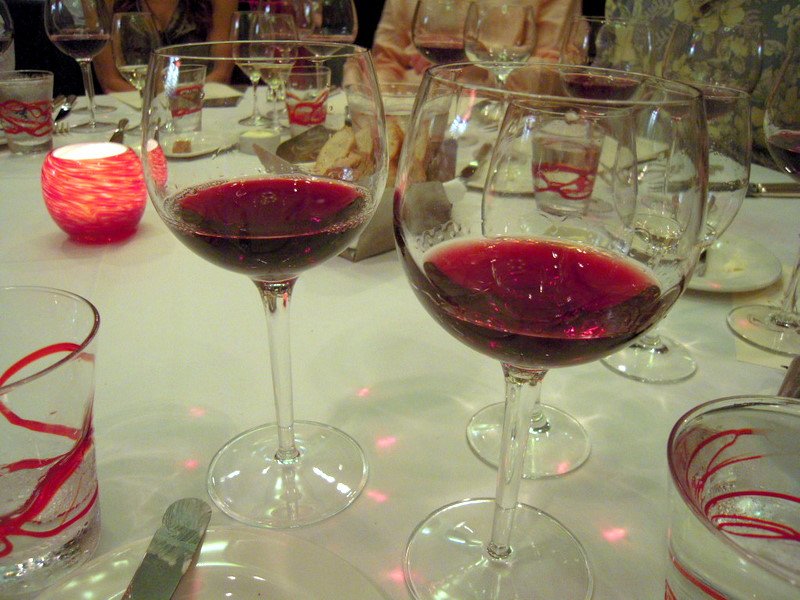 On the left, the 2009 Cerise Vineyard Pinot Noir, and on the right, the 2009 Savoy Vineyard Pinot Noir; both from Anderson Valley