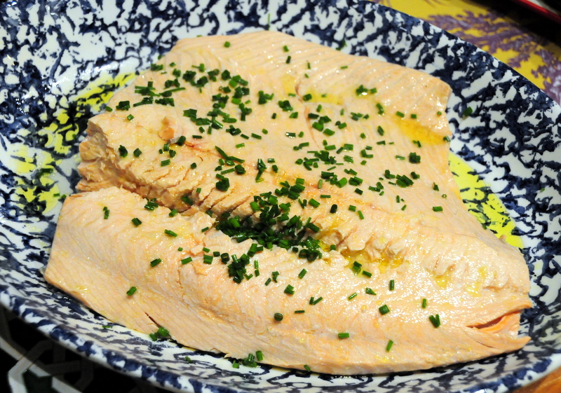 poached King salmon in lemon butter sauce