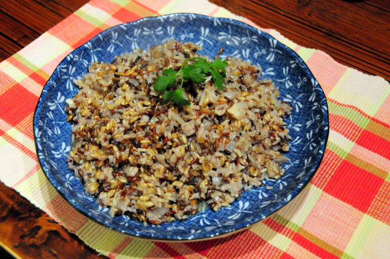 Gen-Ji-Mai with olive oil, garlic and onion