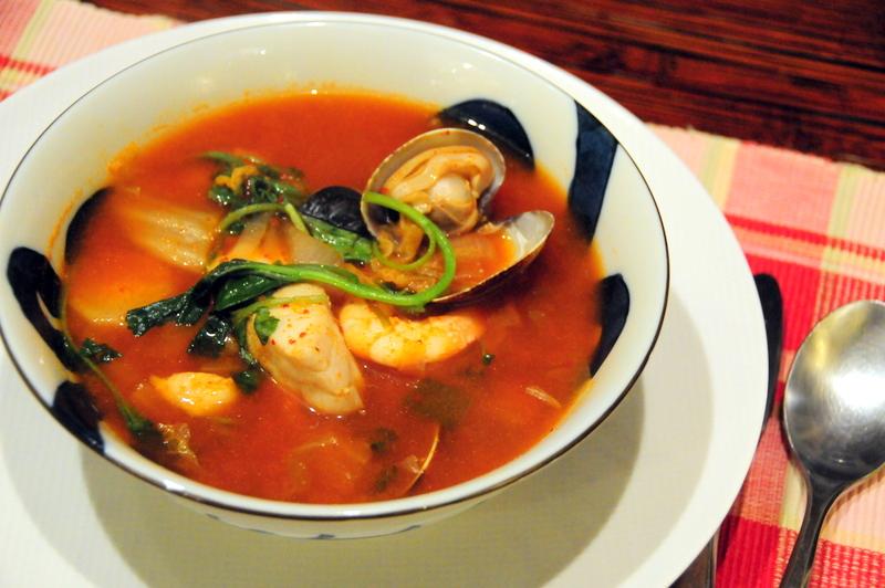Korean kimchi seafood bouillabaisse AKA haemul jeongol