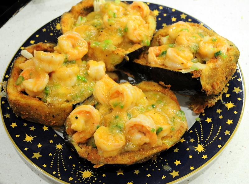 Louisiana style shrimp and crab stuffed eggplant