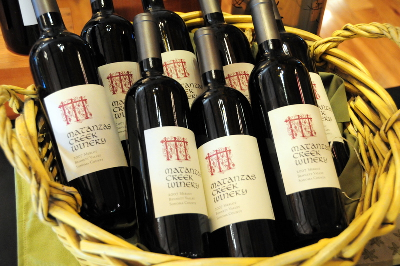 a basket of Matanzas Creek merlot