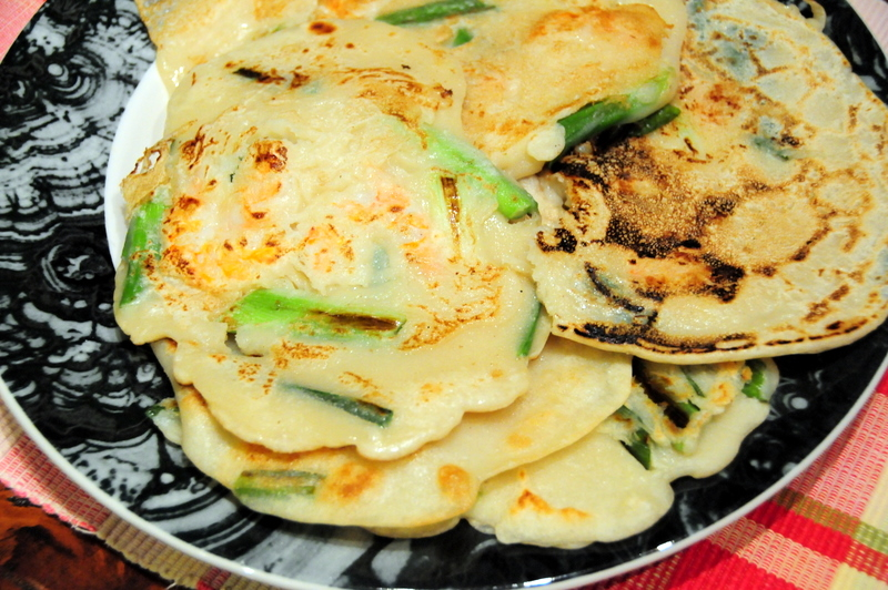 scallion and shrimp pancakes
