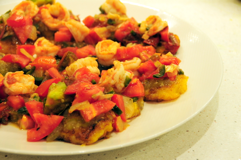 tostones with shrimp, poblano pepper and heirloom tomato salsa