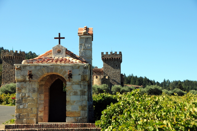 a small chapel in front of Castello di Amorosa