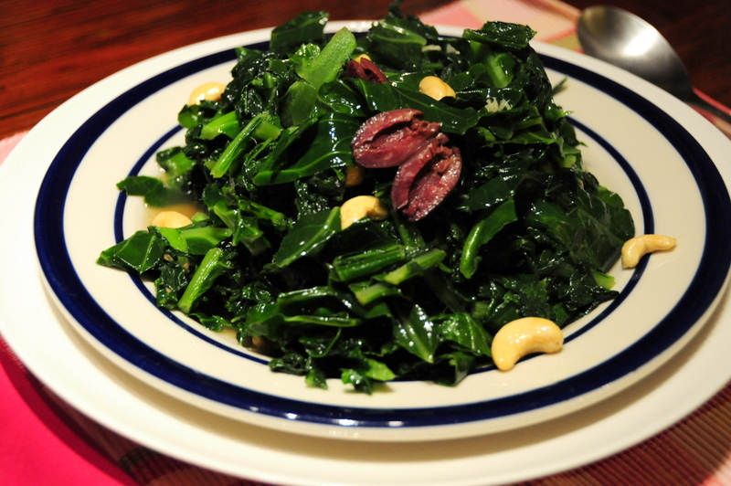 kale with black olives, raw cashews and anchovy