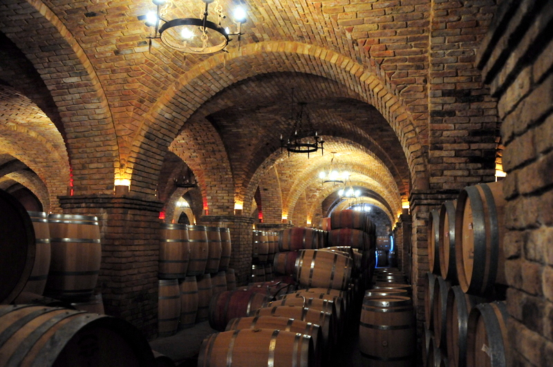 large underground wine cellar at Castello di Amorosa