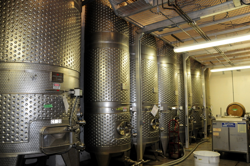 modern stainless steel tanks at Castello di Amorosa