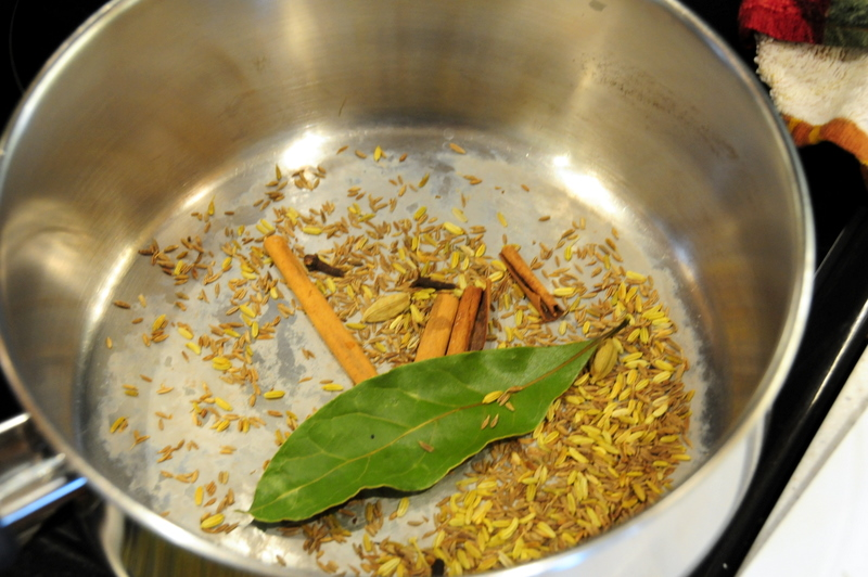 toasting the spices for the Masala powder